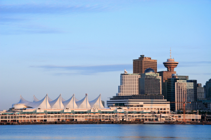 Downtown of Vancouver. Canada Place. Sunset light.
